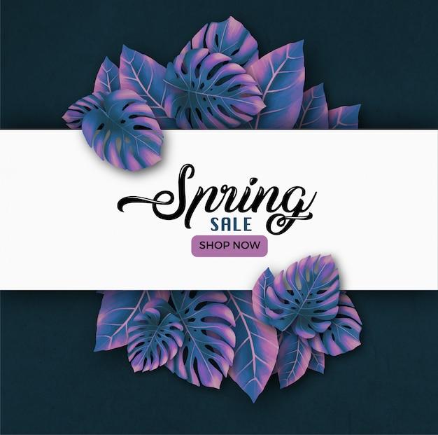 Banner de venta de primavera vector gratuito