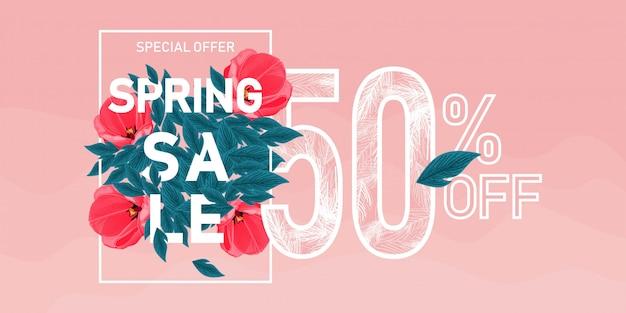Banner de venta de primavera Vector Premium