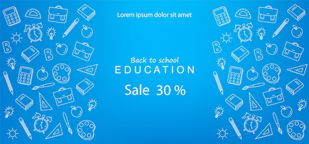 Banner de venta de regreso a la escuela para descuentos y ofertas educativas Vector Premium