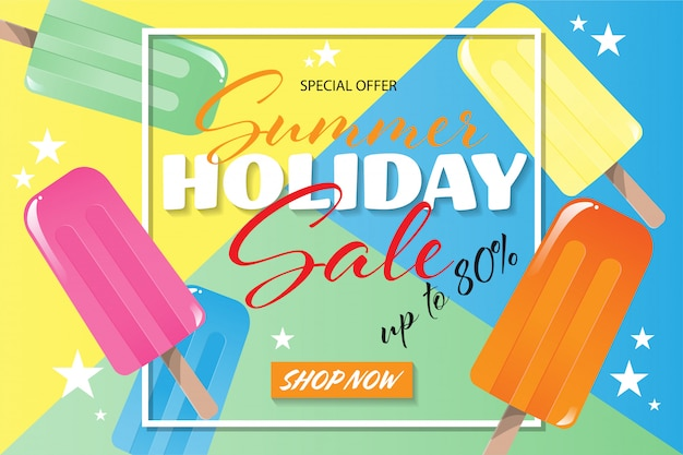 Banner de venta de vacaciones de verano Vector Premium