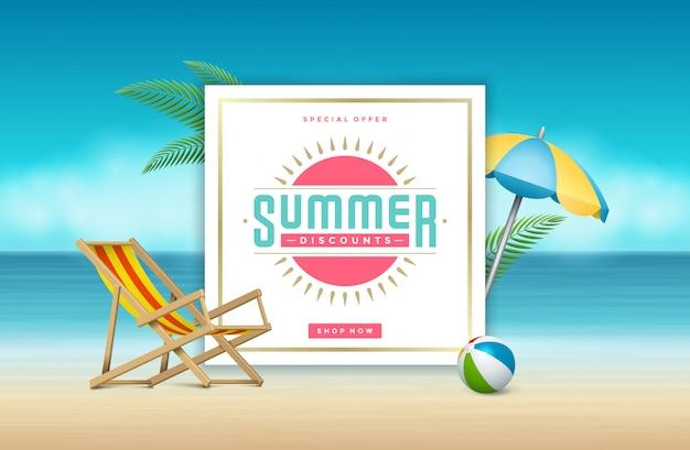 Banner de venta de verano compras en línea en la playa. Vector Premium