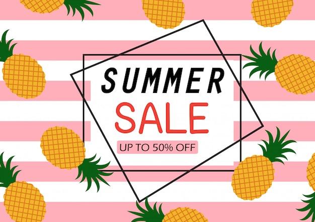 Banner de venta de verano con patrón de piña Vector Premium