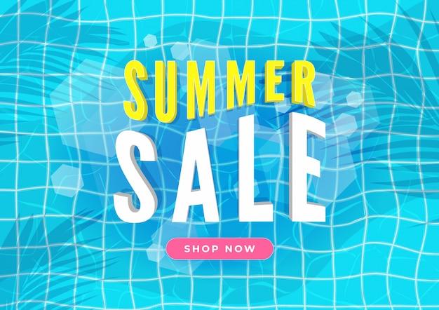 Banner de venta de verano. piscina con hojas de palmera. Vector Premium
