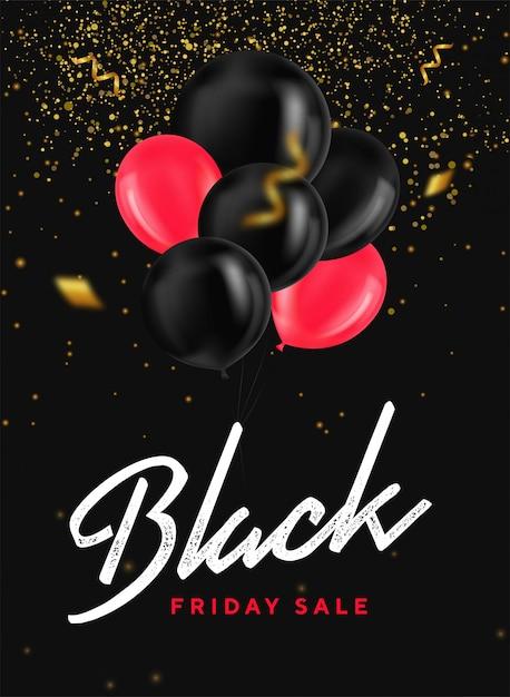 Banner de venta de viernes negro con globos brillantes, confeti y brillo dorado sobre fondo oscuro Vector Premium