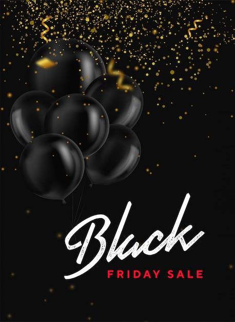 Banner de venta de viernes negro con manojo de globos brillantes, confeti y brillo dorado en la oscuridad. moderno universal para carteles, pancartas, folletos, tarjetas. banner web. cupón. Vector Premium