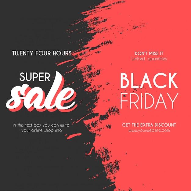 Banner de venta de viernes negro moderno con splash vector gratuito