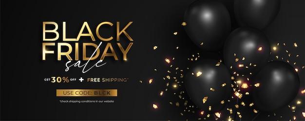 Banner de venta de viernes negro realista con confeti dorado vector gratuito