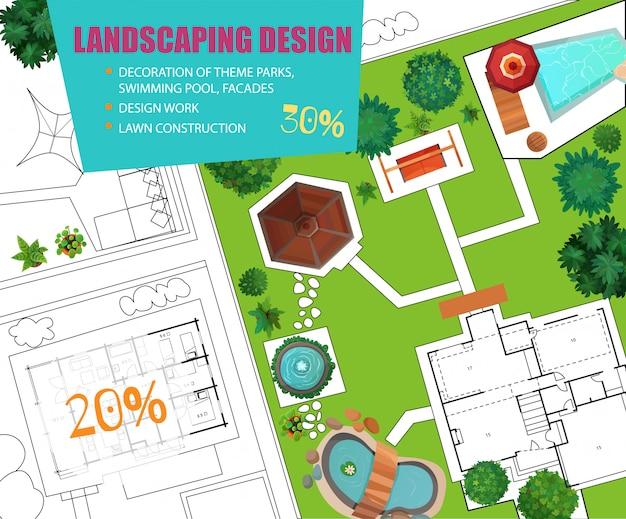 Banner de venta de vista superior de diseño de paisaje vector gratuito
