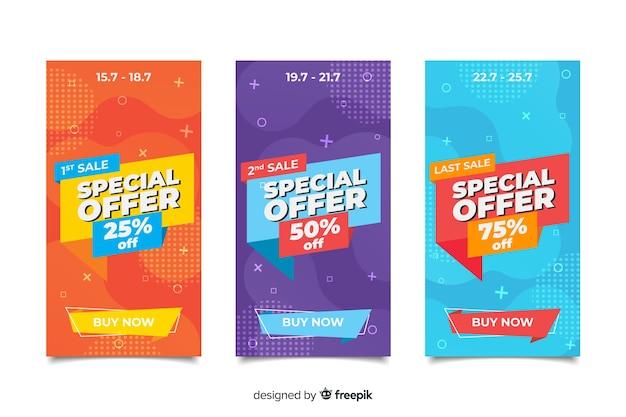 Banner de ventas colección estilo memphis vector gratuito