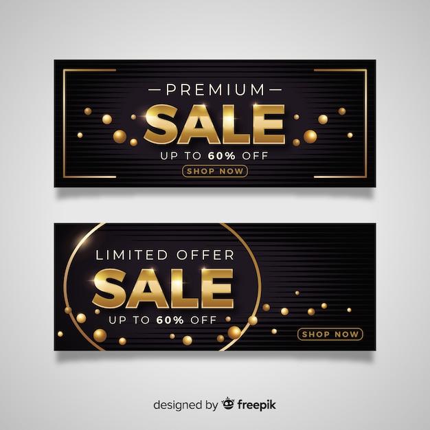 Banner de ventas en estilo de lujo dorado. vector gratuito