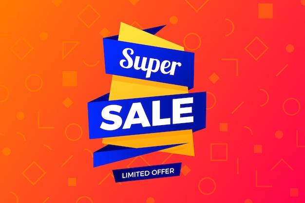 Banner de ventas en estilo origami con cintas azules vector gratuito