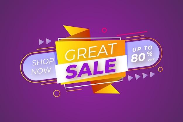 Banner de ventas en estilo origami vector gratuito