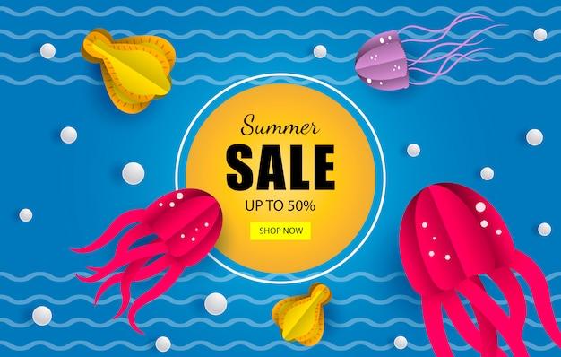 Banner de ventas navales de verano. Vector Premium