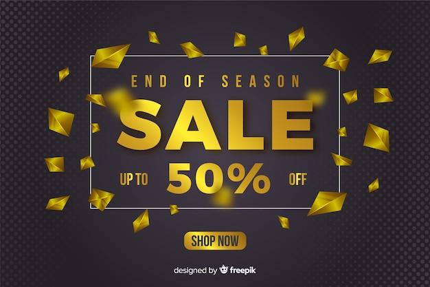 Banner de ventas negro elementos dorados. vector gratuito