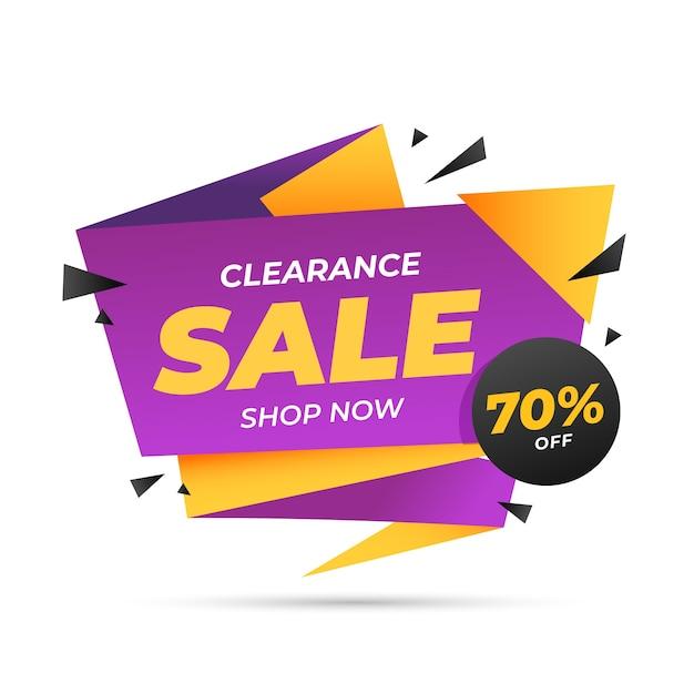 Banner de ventas en plantilla de estilo origami vector gratuito
