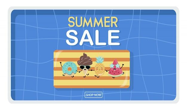 Banner de verano amarillo azul con helado Vector Premium