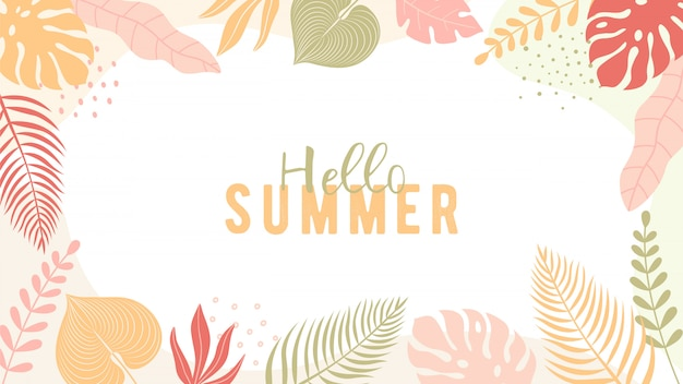 Banner de verano de moda en estilo plano simple con espacio de copia de texto. Vector Premium