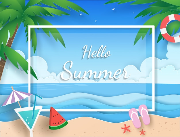 Banner de verano con playa, mar, nube, cocotero, jugo y sandía con papel cortado Vector Premium