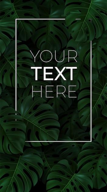 Banner vertical con 3d monstera de hojas verdes sobre fondo oscuro. con espacio de copia para su texto en marco. Vector Premium