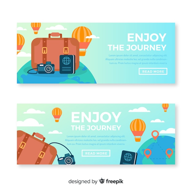 Banner de viaje en diseño plano vector gratuito