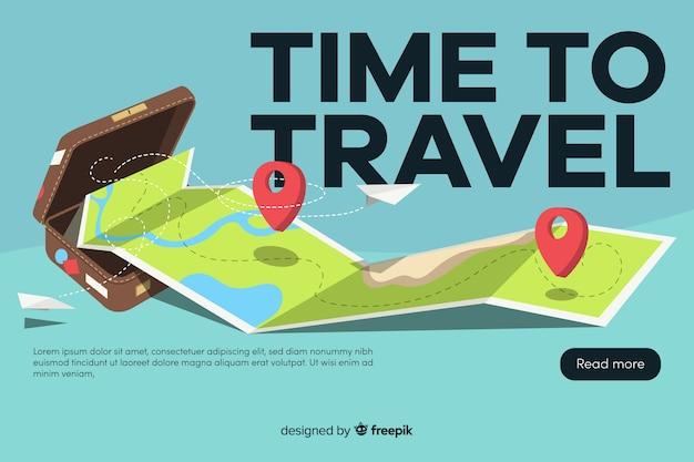 Banner de viaje con diseño plano vector gratuito