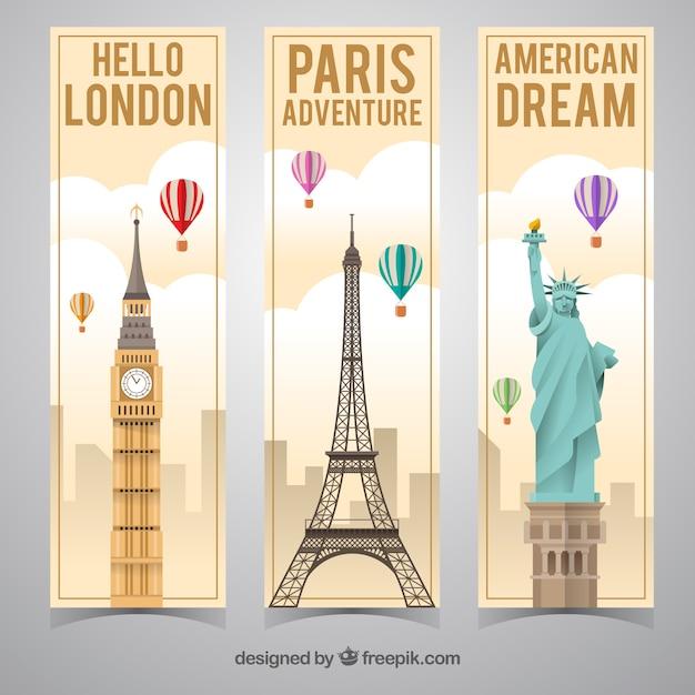 Banner de viajes ciuadades principales vector gratuito