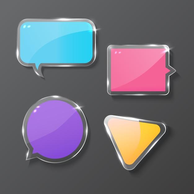 Banner de vidrio, ilustración vectorial realista Vector Premium