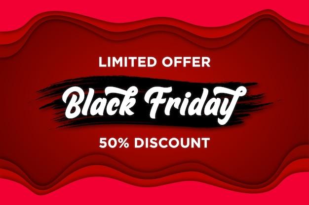 Banner de viernes negro con estilo de corte de papel vector gratuito