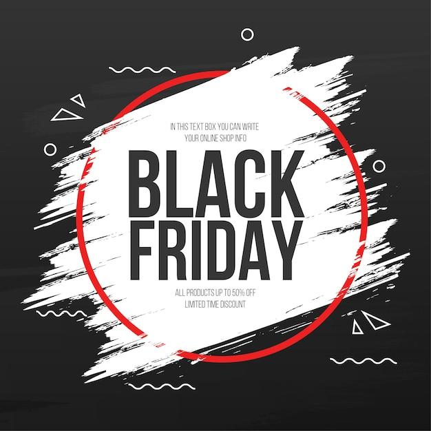 Banner de viernes negro con marco de trazo de pincel abstracto vector gratuito
