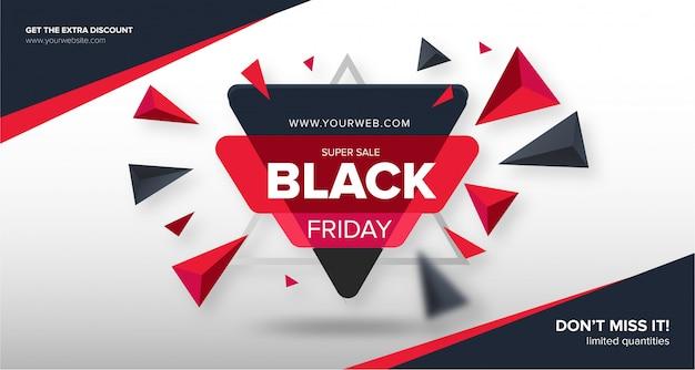 Banner de viernes negro moderno con formas abstractas vector gratuito
