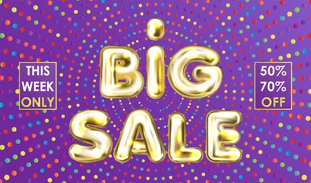 Banner violeta venta grande con letras globo dorado Vector Premium
