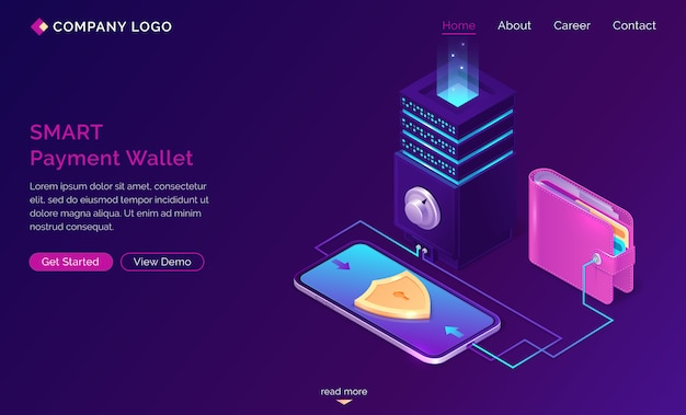 Banner de web de aterrizaje isométrico de billetera inteligente vector gratuito