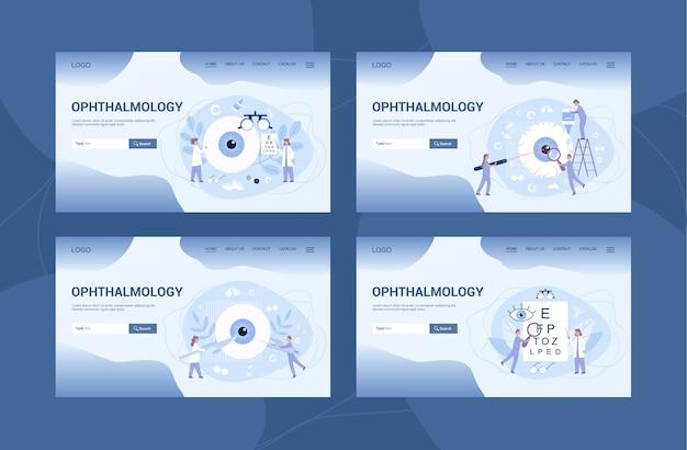 Banner web de clínica de oftalmología o página de inicio et. idea de cuidado de los ojos y la vista. set de tratamiento oculista. examen y corrección de la vista. Vector Premium