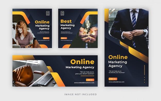 Banner web corporativo para publicar en redes sociales con portada de facebook e historia de instagram Vector Premium