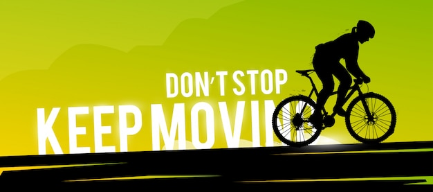 Banner web deportivo. concepto motivacional. biker silueta mujer. Vector Premium