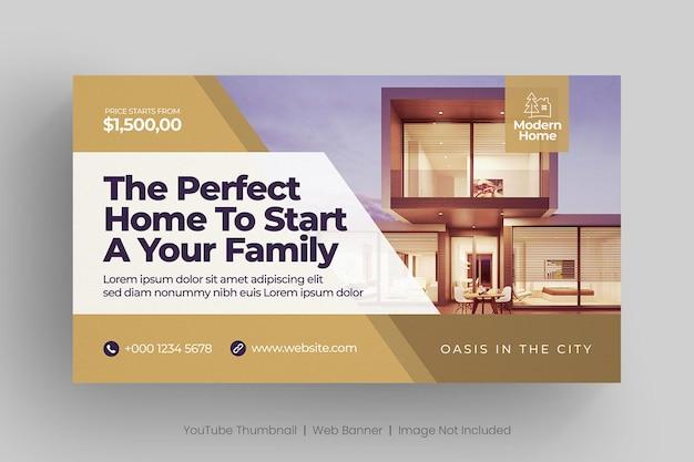 Banner web inmobiliario y miniatura de youtube Vector Premium