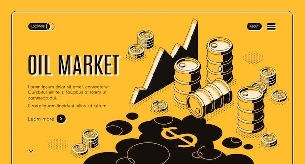 Banner de web isométrica de la empresa comercial de petróleo y petróleo vector gratuito