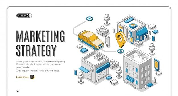 Banner de web isométrica de estrategia de marketing, planificación vector gratuito