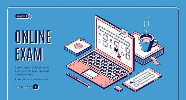 Banner web isométrica de examen en línea vector gratuito