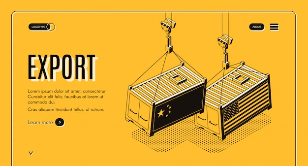 Banner de web isométrica de exportación internacional de bienes. vector gratuito