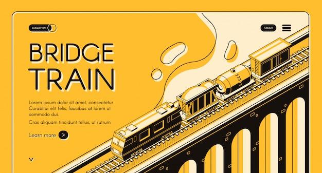 Banner de web isométrica de transporte de carga de ferrocarril industrial. locomotora tirando tren de carga vector gratuito