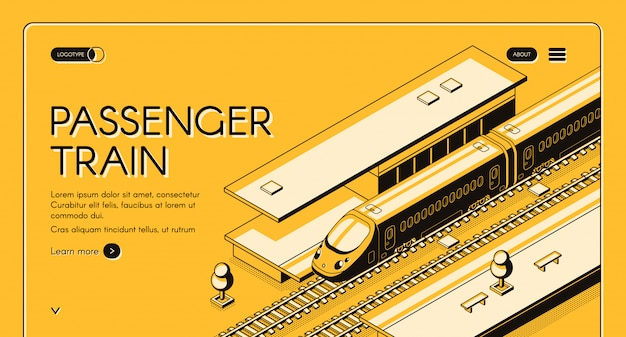Banner de web isométrica de tren de pasajeros. tren expreso de alta velocidad en la estación de ferrocarril. vector gratuito