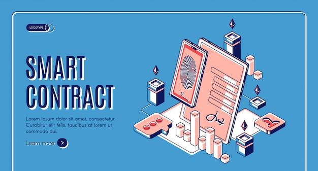Banner web isométrico de contrato inteligente vector gratuito