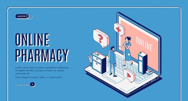 Banner web isométrico de farmacia en línea vector gratuito