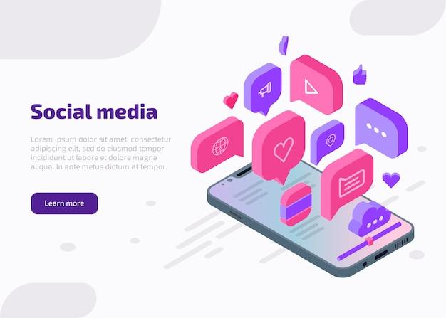 Banner de web isométrico de marketing en redes sociales, plantilla de página de destino. concepto de influencia con me gusta, chat, video, música, corazón, nube, iconos de internet desde la pantalla del teléfono inteligente. vector gratuito