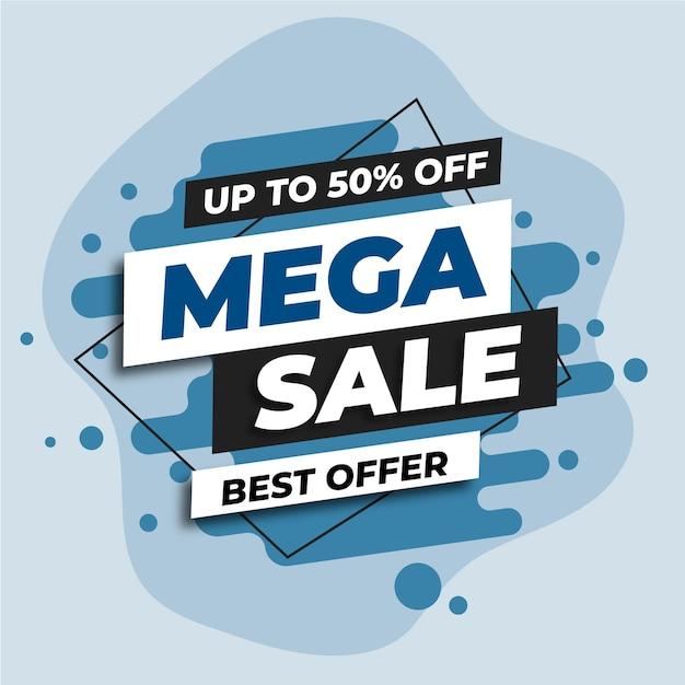 Banner web de mega venta azul vector gratuito