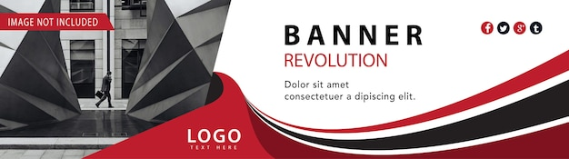 Banner web de negocios rojo vector gratuito