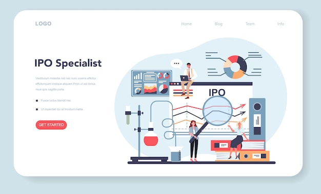 Banner web o página de destino del especialista en ofertas públicas iniciales. Vector Premium
