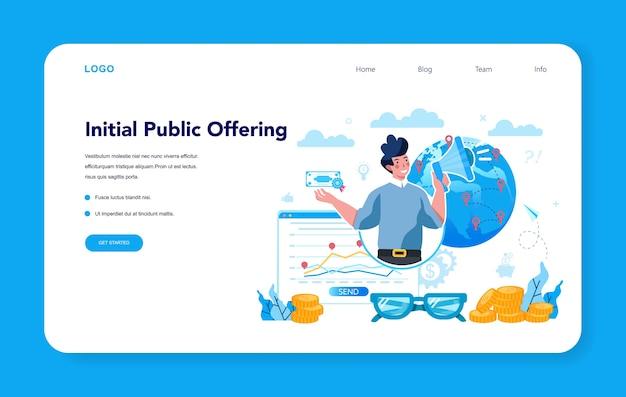 Banner web o página de destino del especialista en ofertas públicas iniciales Vector Premium