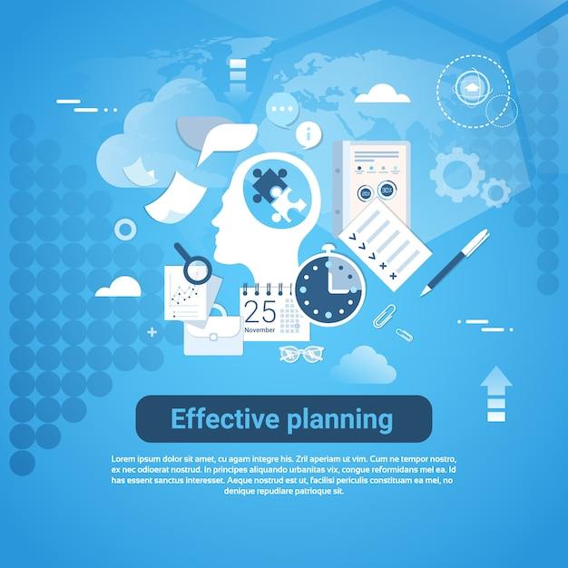 Banner de web de planificación eficaz con concepto de negocio de espacio de copia Vector Premium